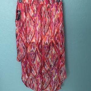 Boho multicolor hi low skirt
